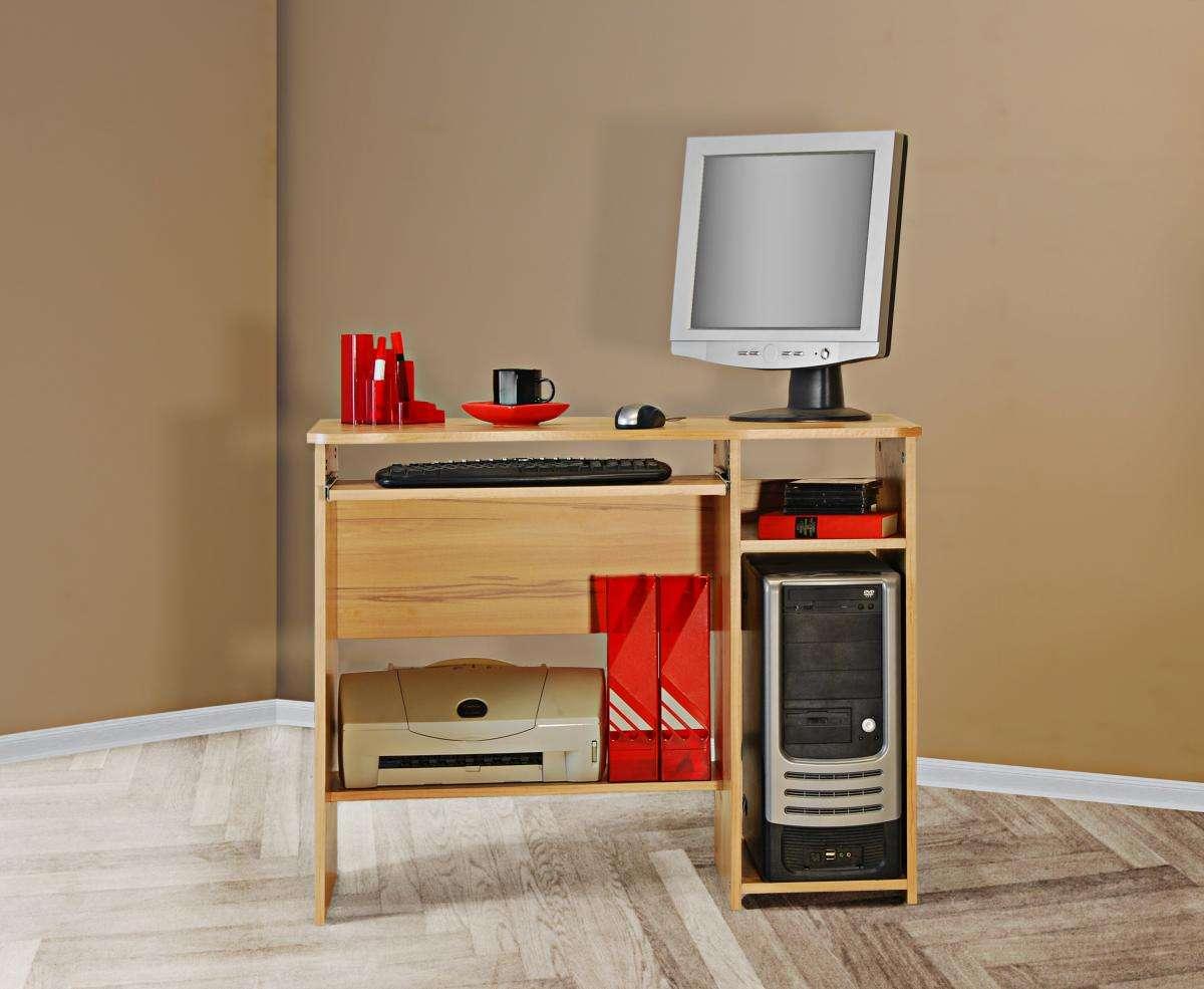 schreibtisch tisch computertisch kernbuche strukturbuche nb klein kompakt ebay. Black Bedroom Furniture Sets. Home Design Ideas