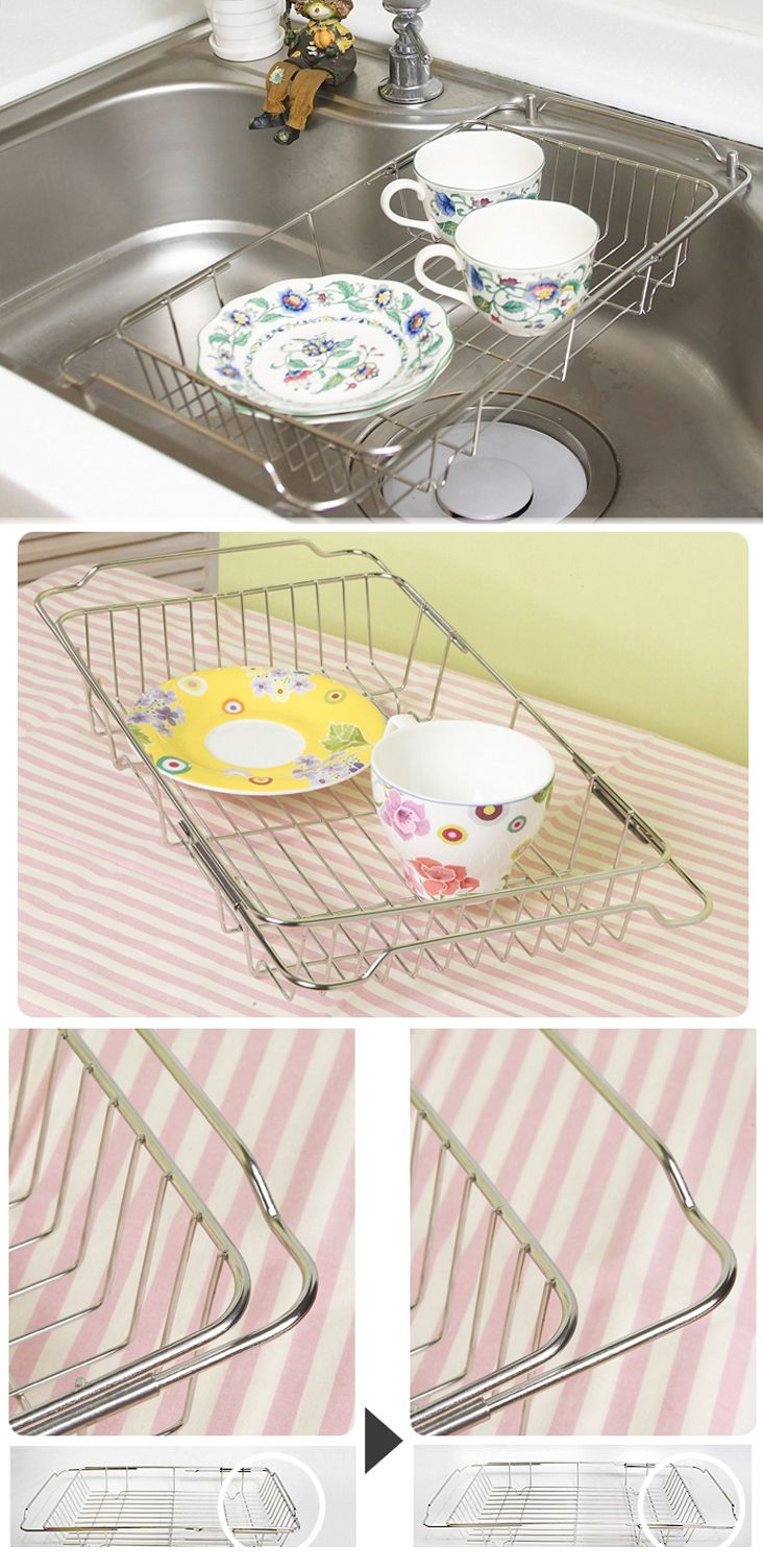 New Stainless Extendable Sink Dish Tray Slide Dish Drying